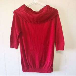 Express Red Cowl Neck Elbow Sleeve Sweater